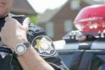 Police officer using radio